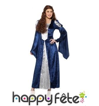 Robe médiévale bleue et blanche pour femme