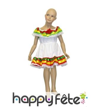 Robe mexicaine blanche et colorée pour enfant