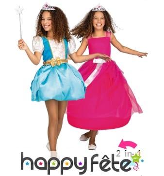 Robe magique de princesse 2 en 1 pour enfant