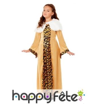 Robe médiévale dorée pour petite fille