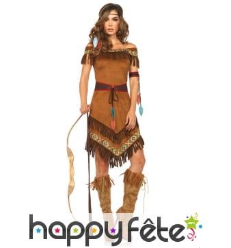 Robe marron imitation daim de femme indienne