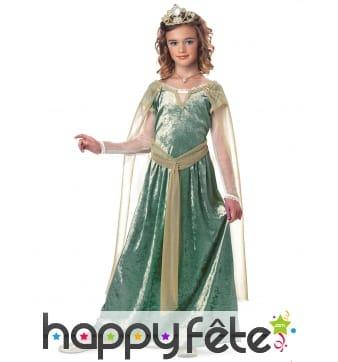 Robe médiévale verte effet velours pour fille
