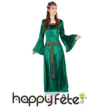 Robe médiévale verte imitation velours