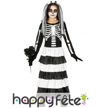 Robe noire blanche de mariée squelette pour enfant