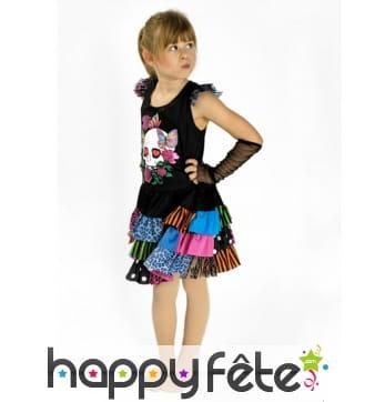 Robe noire colorée punk pour enfant