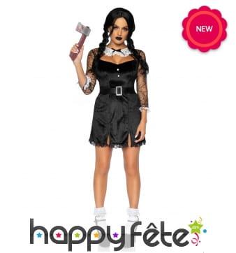 Robe noire courte de Halloween pour femme