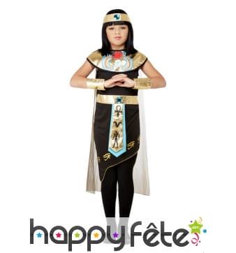 Robe noire de Cléopâtre pour enfant avec bandeau
