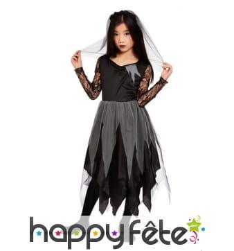 Robe noire de mariée fantôme pour fille