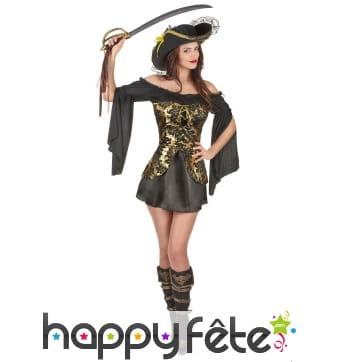 Robe noire de pirate corset doré