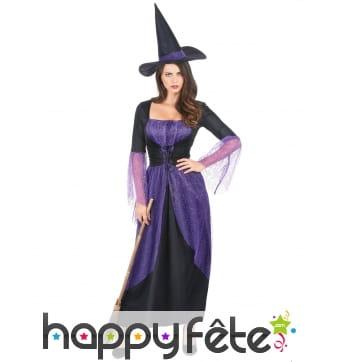 Robe noire de sorcière avec voilage violet