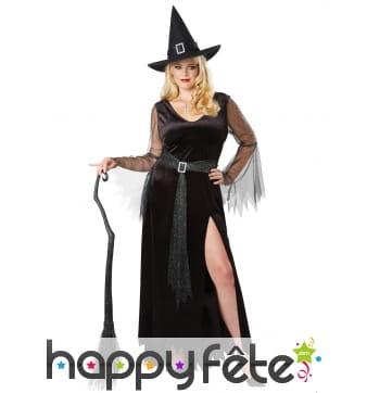Robe noire échancrée de sorcière grande taille