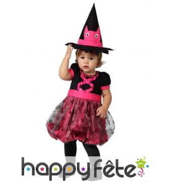 Robe noire et rose de bébé sorcière