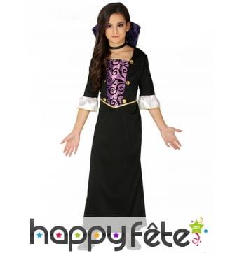 Robe noire et violette de vampire pour enfant