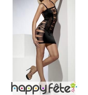 Robe noire filet sexy femme