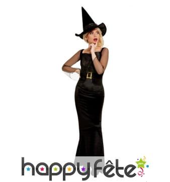 Robe noire glamour de sorcière pour femme