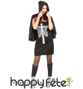 Robe noire imprimé thorax de squelette