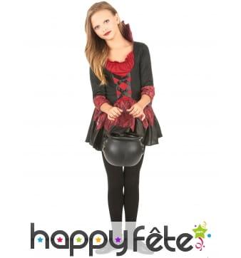 Robe noire rouge de vampiresse pour enfant