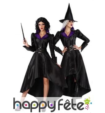 Robe noire satinée de sorcière et chapeau, adulte