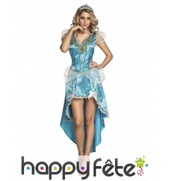 Robe queue de pie bleue de Princesse pour femme
