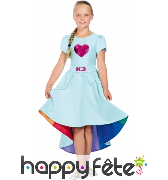 Robe queue de pie Love Cruise bleue pour fille, K3