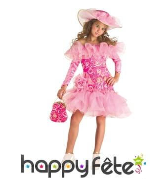 Robe rose avec tulles et volants pour fillette