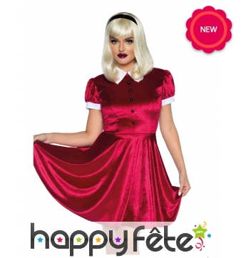Robe rouge col claudine blanc pour femme