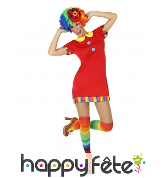 Robe rouge courte et colorée de clown