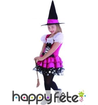 Robe rose de petite sorcière avec chapeau