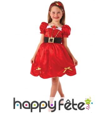Robe rouge de noël avec bandeau pour enfant