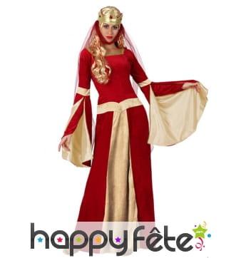 Robe rouge de reine médiévale pour femme