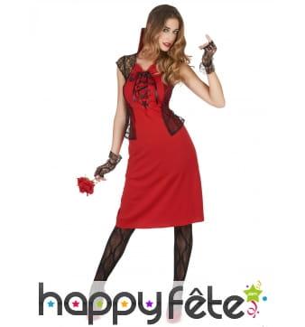 Robe rouge de Vampire avec col et dentelle