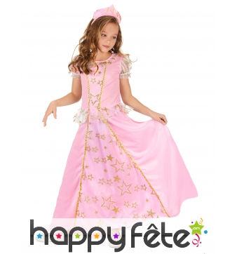 Robe rose étoilée de petite princesse