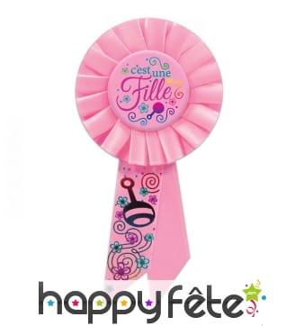 Rosette rose pour naissance fille