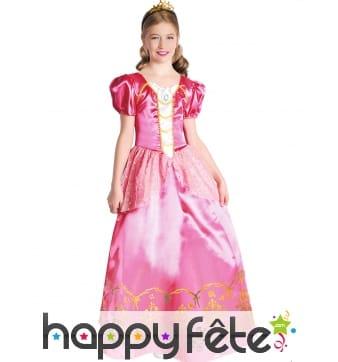 Robe rose satinée de petite princesse