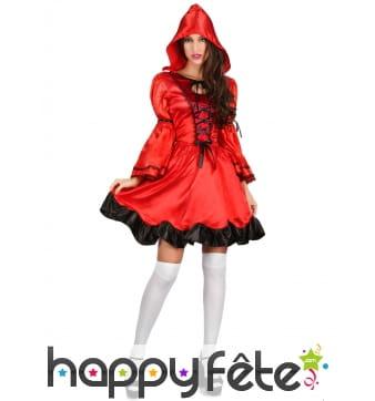 Robe rouge satinée de femme chaperon rouge
