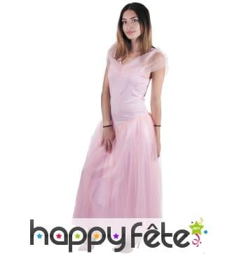 Robe rose unie de princesse pour femme