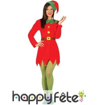 Robe rouge unie de lutin de Noël pour adulte