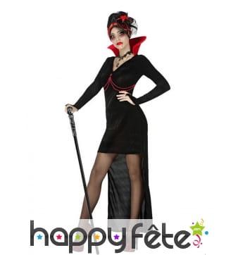 Robe sexy de vampire noire avec traine et haut col