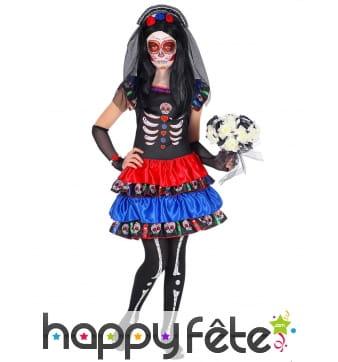 Robe squelette Dia de los muertos colorée, fille