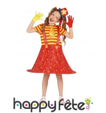Robe salopette large de clown rouge jaune, enfant