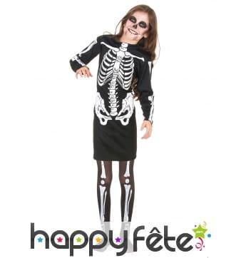 Robe squelette mi-longue pour fillette