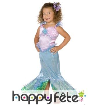 Robe sirène rose et bleue pour petite fille