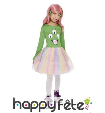 Robe tutu arc-en-ciel d'alien vert pour fille