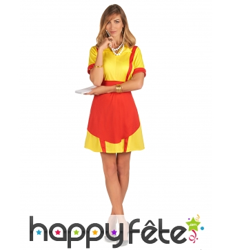 Robe tablier jaune rouge de serveuse US pour femme