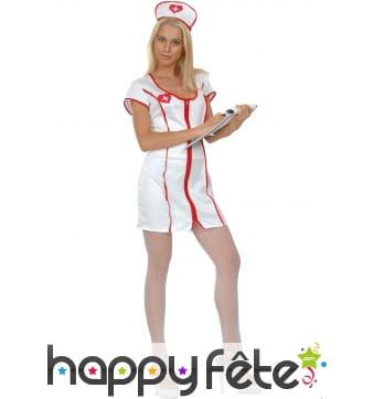 Robe uniforme blanc d'infirmière sexy
