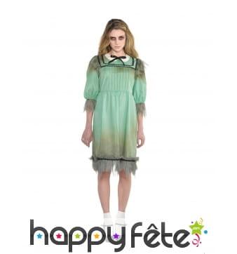 Robe verte de jeune fille fantôme pour femme