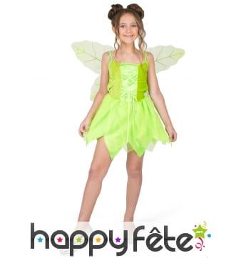 Robe verte de petite fée avec ailes
