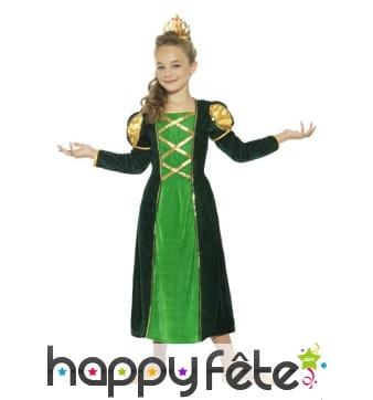Robe verte de princesse médiévale pour enfant
