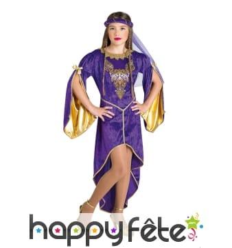 Robe violette de princesse médiévale pour enfant