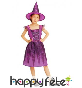 Robe violette de sorcière pour enfant